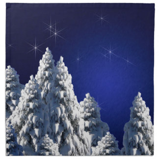 519662 WINTER NIGHT SCENE SNOW TREES STARS SCENIC CLOTH NAPKINS