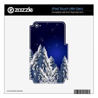519662 WINTER NIGHT SCENE SNOW TREES STARS SCENIC iPod TOUCH 4G SKINS