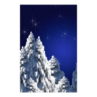 519662 WINTER NIGHT SCENE SNOW TREES STARS SCENIC PERSONALIZED STATIONERY