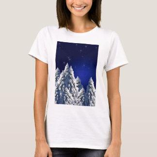 519662 WINTER NIGHT SCENE SNOW TREES STARS SCENIC T-Shirt