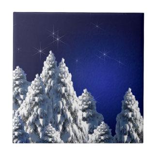 519662 WINTER NIGHT SCENE SNOW TREES STARS SCENIC CERAMIC TILE