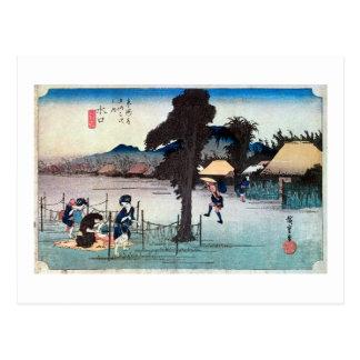 51. 水口宿, 広重 Minakuchi-juku, Hiroshige, Ukiyo-e Postal