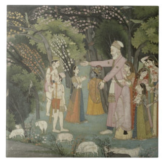51.207/28 Nanda asking Radha to escort Krishna hom Tile