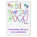 ¡51 años de la roca! tarjeta de felicitación