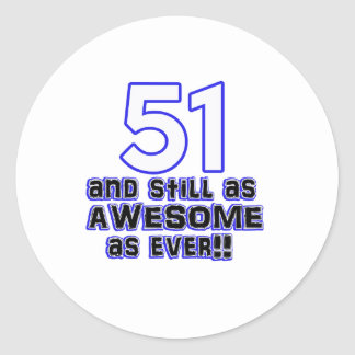 51 birthday design classic round sticker