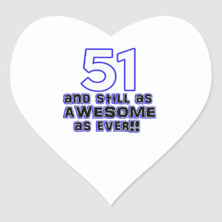51 birthday design heart sticker