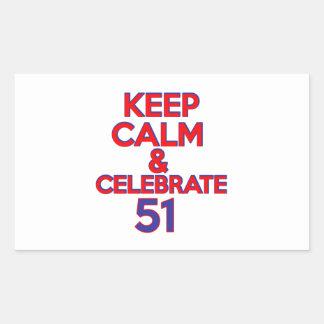 51 birthday design rectangular sticker