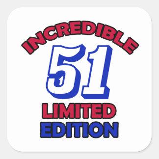 51 Birthday Design Square Sticker