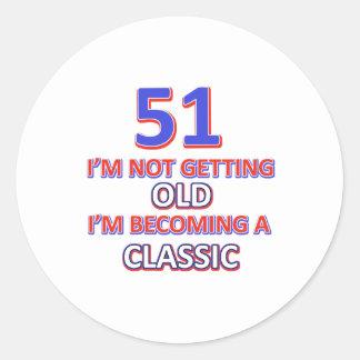 51 birthday desigs classic round sticker