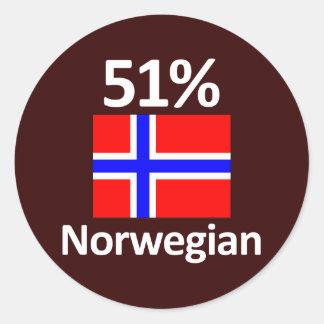 51% Norwegian Classic Round Sticker