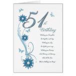 51.o cumpleaños en trullo con las flores y la tarjeton