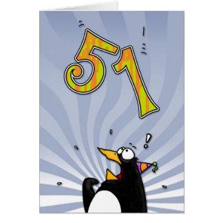 51.o cumpleaños - tarjeta de la sorpresa del pingü