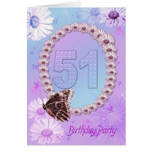 51.o Invitación de la fiesta de cumpleaños Tarjeta De Felicitación