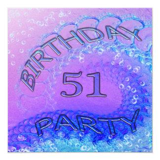 """51.o Invitación, extracto y bubb de la fiesta de Invitación 5.25"""" X 5.25"""""""