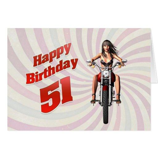 51.o Tarjeta de cumpleaños con un chica de la moto