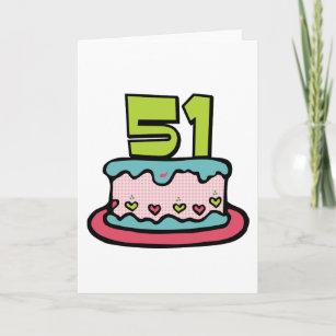 51 Year Old Birthday Cake Card