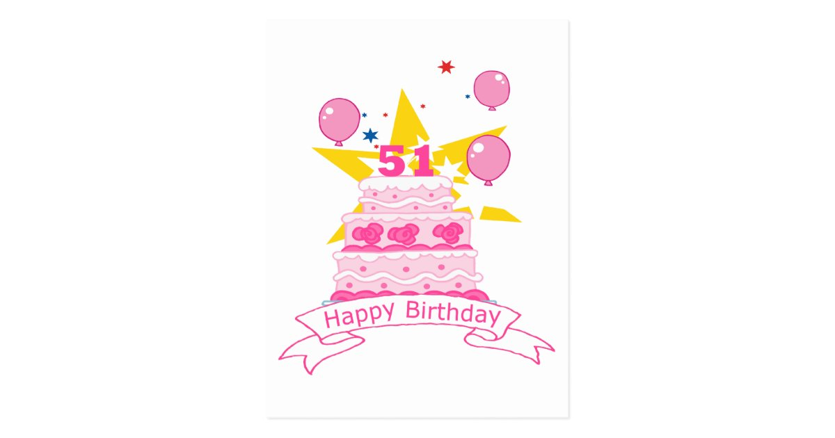 Remarkable 51 Year Old Birthday Cake Postcard Zazzle Com Personalised Birthday Cards Epsylily Jamesorg