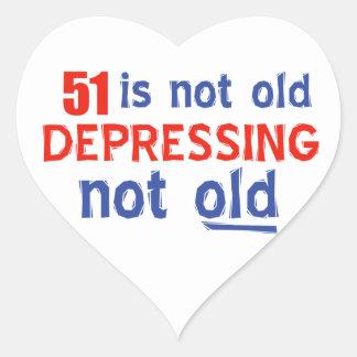 51 year old birthday design heart sticker