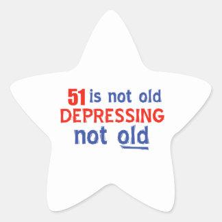 51 year old birthday design star sticker