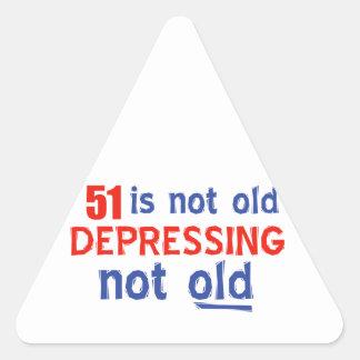 51 year old birthday design triangle sticker