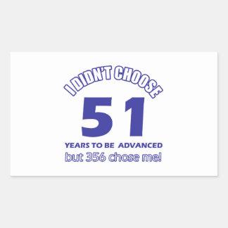 51 years advancement rectangular sticker