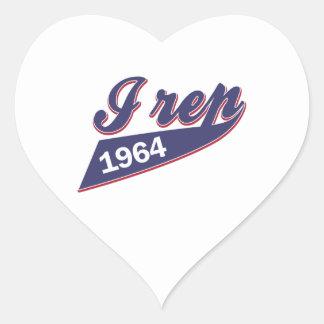 51 years birthday design heart sticker