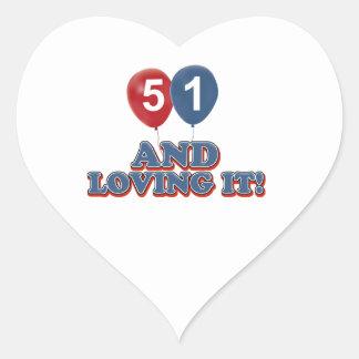 51 years Old birthday designs Heart Sticker