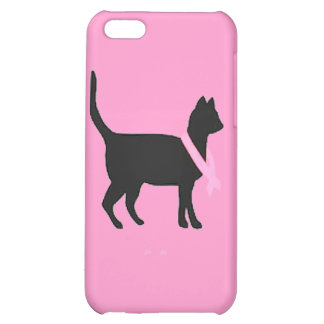 51b88 black cat pink ribbon breast cancer causes cover for iPhone 5C