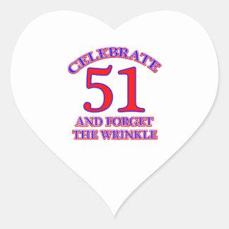 51Birthday Design Heart Sticker