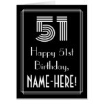 "[ Thumbnail: 51st Birthday — Art Deco Inspired Look ""51"" + Name Card ]"