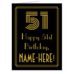 "[ Thumbnail: 51st Birthday: Art Deco Inspired Look ""51"" + Name Card ]"