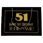 "[ Thumbnail: 51st Birthday — Art Deco Inspired Look ""51"" & Name Gift Bag ]"
