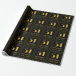 """[ Thumbnail: 51st Birthday ~ Art Deco Inspired Look """"51"""", Name Wrapping Paper ]"""