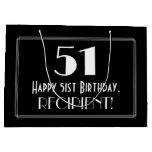 "[ Thumbnail: 51st Birthday: Art Deco Inspired Style ""51"", Name Gift Bag ]"