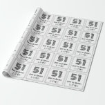 """[ Thumbnail: 51st Birthday: Art Deco Inspired Style """"51"""" + Name Wrapping Paper ]"""