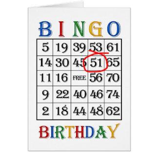 51st Birthday Bingo card