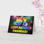 [ Thumbnail: 51st Birthday: Bold, Fun, Fireworks, Rainbow 51 Card ]