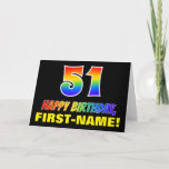 [ Thumbnail: 51st Birthday: Bold, Fun, Simple, Rainbow 51 Card ]