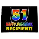 [ Thumbnail: 51st Birthday: Bold, Fun, Simple, Rainbow 51 Gift Bag ]