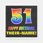 [ Thumbnail: 51st Birthday: Bold, Fun, Simple, Rainbow 51 Napkins ]