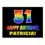 [ Thumbnail: 51st Birthday: Bold, Fun, Simple, Rainbow 51 Postcard ]
