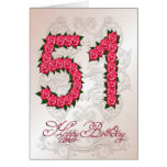 51st birthday card with roses and leaves