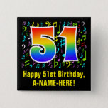[ Thumbnail: 51st Birthday: Colorful Music Symbols, Rainbow 51 Button ]