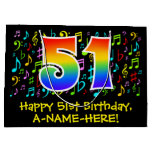 [ Thumbnail: 51st Birthday - Colorful Music Symbols, Rainbow 51 Gift Bag ]