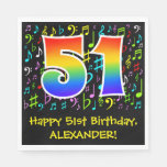 [ Thumbnail: 51st Birthday - Colorful Music Symbols, Rainbow 51 Napkins ]