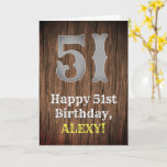 [ Thumbnail: 51st Birthday: Country Western Inspired Look, Name Card ]