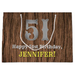 [ Thumbnail: 51st Birthday: Country Western Inspired Look, Name Gift Bag ]
