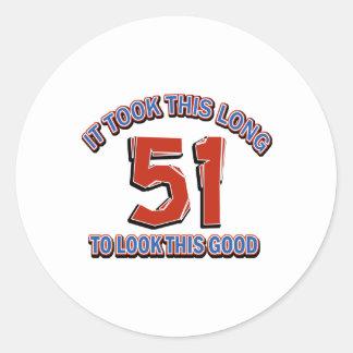 51st birthday design classic round sticker