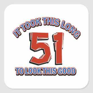 51st birthday design square sticker