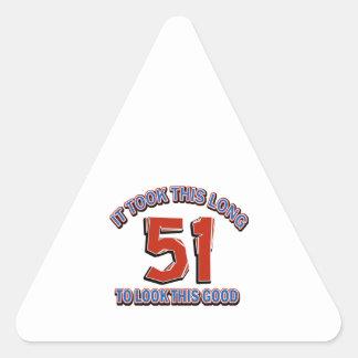 51st birthday design triangle sticker